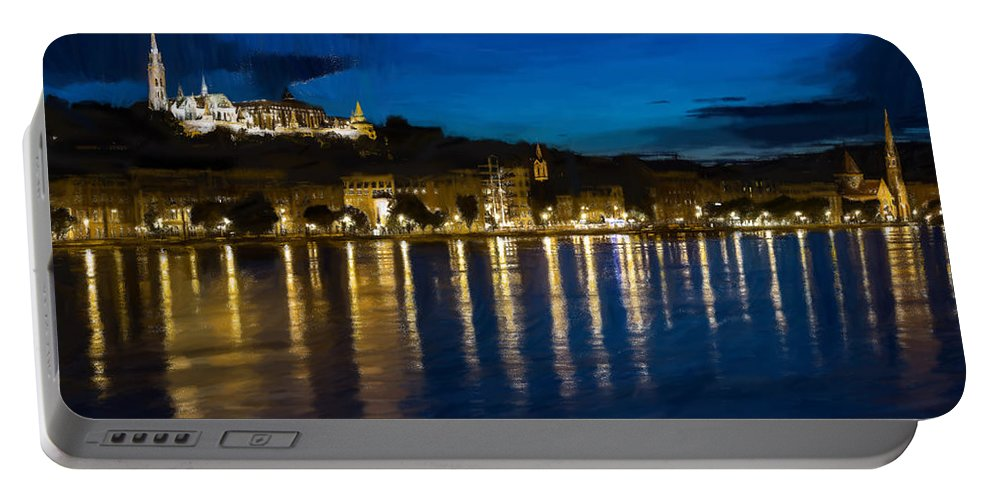 River Portable Battery Charger featuring the painting Budapest - Id 16236-105006-5202 by S Lurk