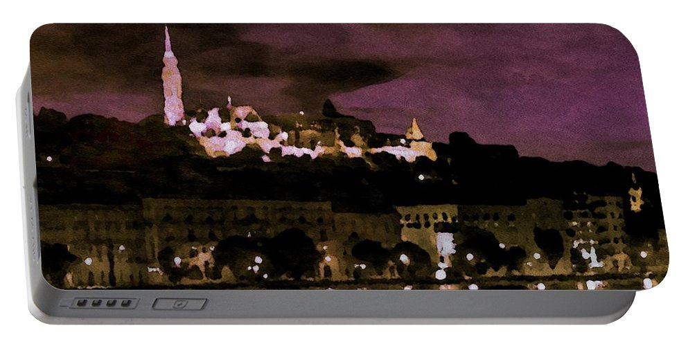 River Portable Battery Charger featuring the painting Budapest - Id 16236-105014-9910 by S Lurk