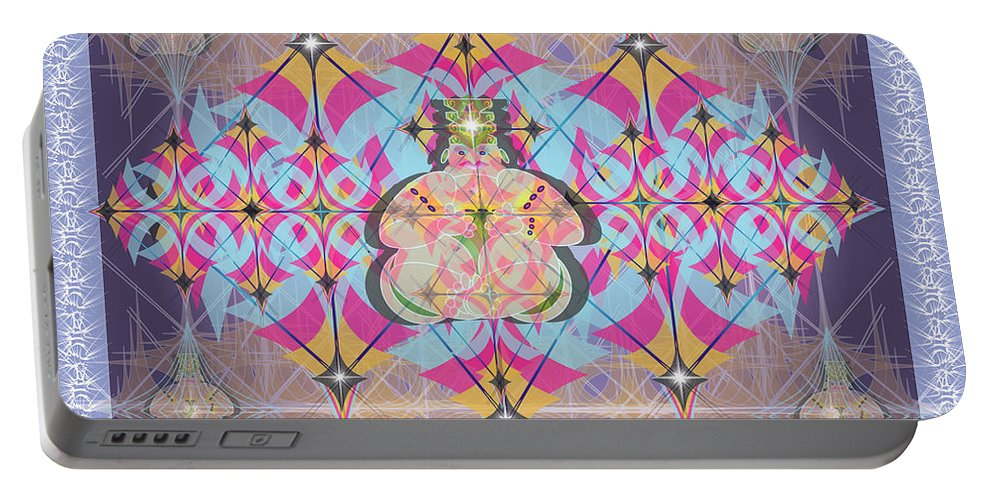 Abstract Portable Battery Charger featuring the digital art Buddah II by George Pasini