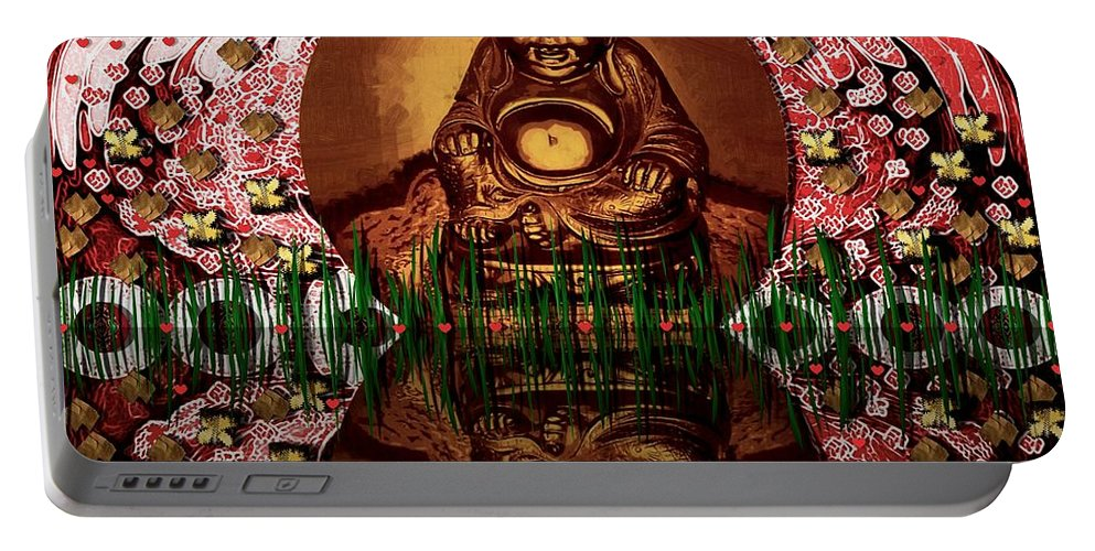 Buddha Portable Battery Charger featuring the mixed media Buddha Garden by Pepita Selles