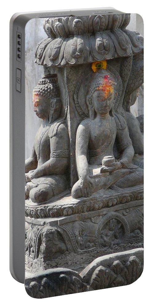 Buddha Portable Battery Charger featuring the photograph Buddha Statue At Temple - Swayambunat by Dagmar Batyahav