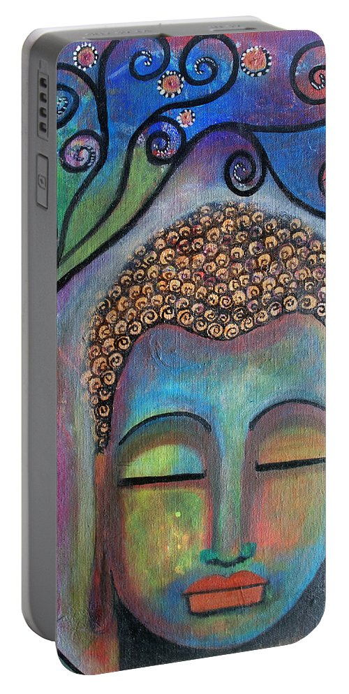 Buddha Portable Battery Charger featuring the painting Buddha With Tree Of Life by Prerna Poojara
