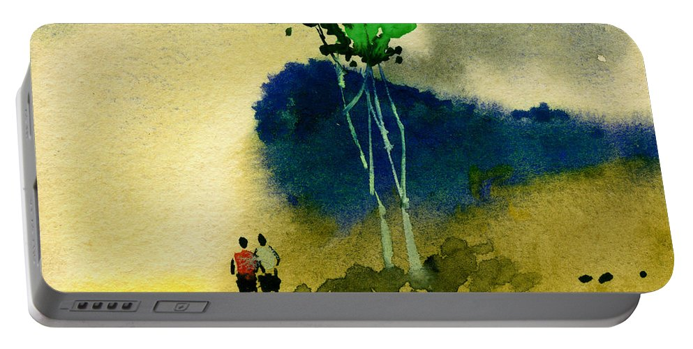 Landscape Portable Battery Charger featuring the painting Buddies by Anil Nene