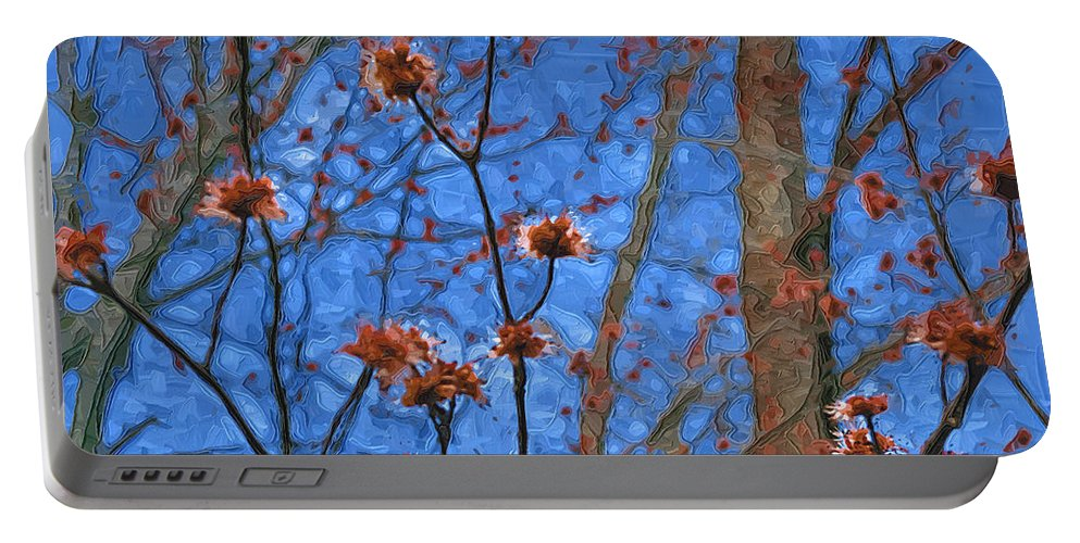 Blue Portable Battery Charger featuring the photograph Budding Maples by Tom Reynen