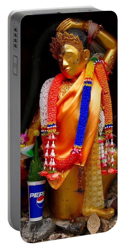 Buddism Portable Battery Charger featuring the photograph Buddism And Pepsi Shrine by Minaz Jantz