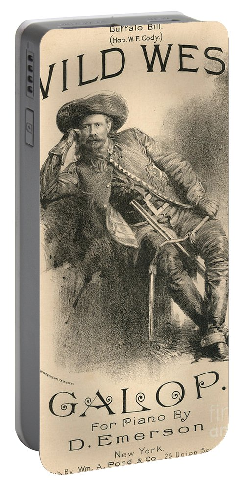 Buffalo Bill Portable Battery Charger featuring the drawing Buffalo Bill by American School