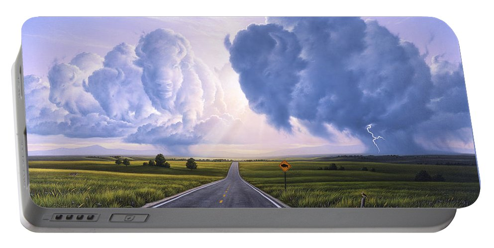 Buffalo Portable Battery Charger featuring the painting Buffalo Crossing by Jerry LoFaro