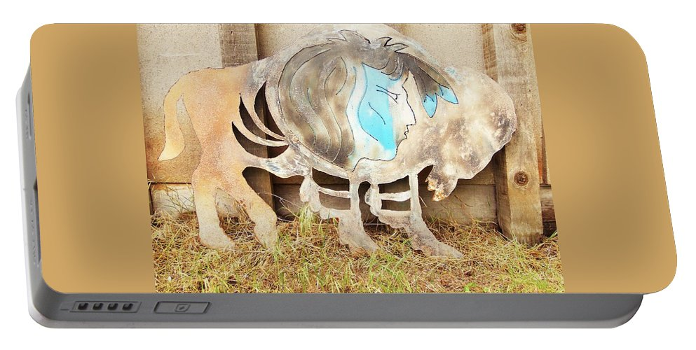 Buffalo Portable Battery Charger featuring the photograph Buffalo Dreams by Larry Campbell