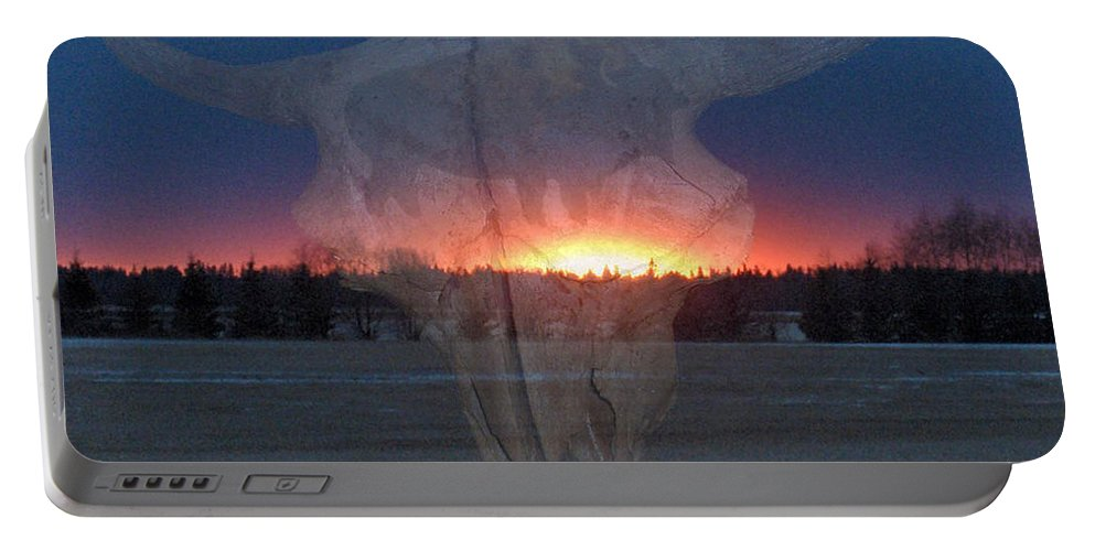 Buffalo Teepee Ghosts Skull Sunset Trees Saskatchewan Portable Battery Charger featuring the digital art Buffalo Ghosts by Andrea Lawrence