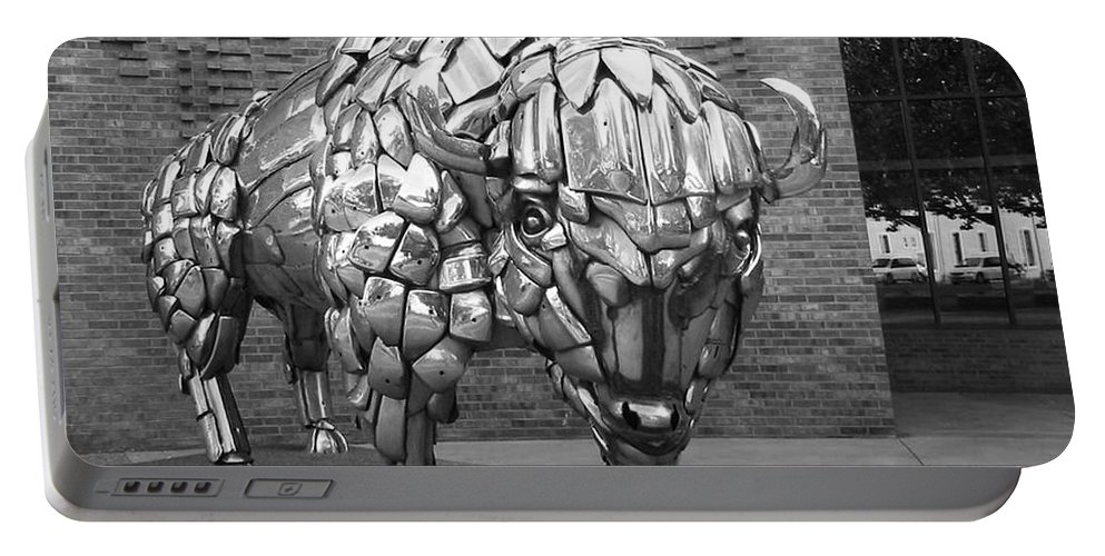 Buffalo Sculpture Portable Battery Charger featuring the photograph Buffalo Grand Junction Co by Tommy Anderson