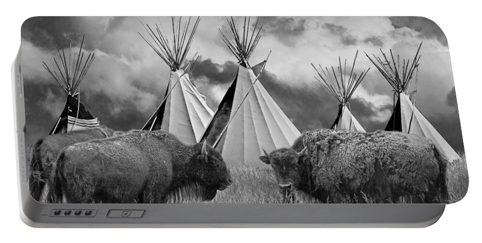 Native Portable Battery Charger featuring the photograph Buffalo Herd Among Teepees Of The Blackfoot Tribe by Randall Nyhof