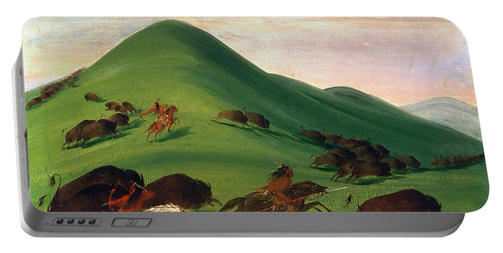 1830 Portable Battery Charger featuring the photograph Buffalo Hunt, 1830s by Granger
