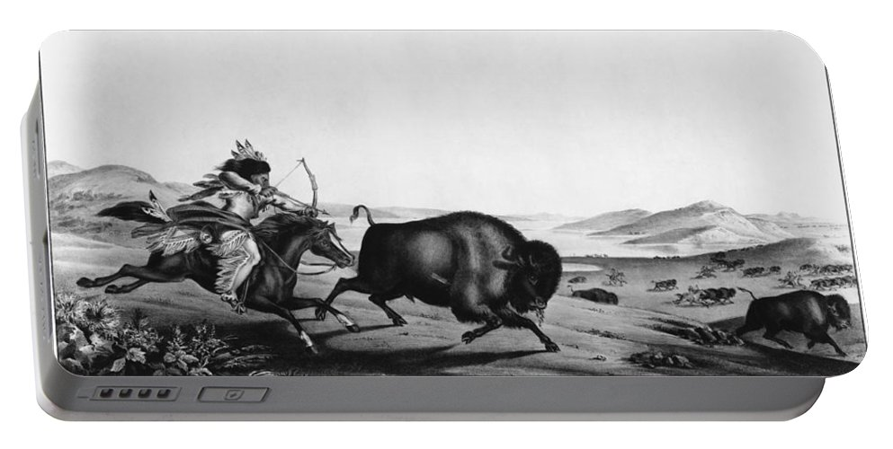 1837 Portable Battery Charger featuring the photograph Buffalo Hunt, 1837 by Granger
