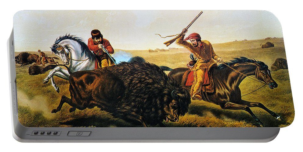 1862 Portable Battery Charger featuring the photograph Buffalo Hunt, 1862 by Granger