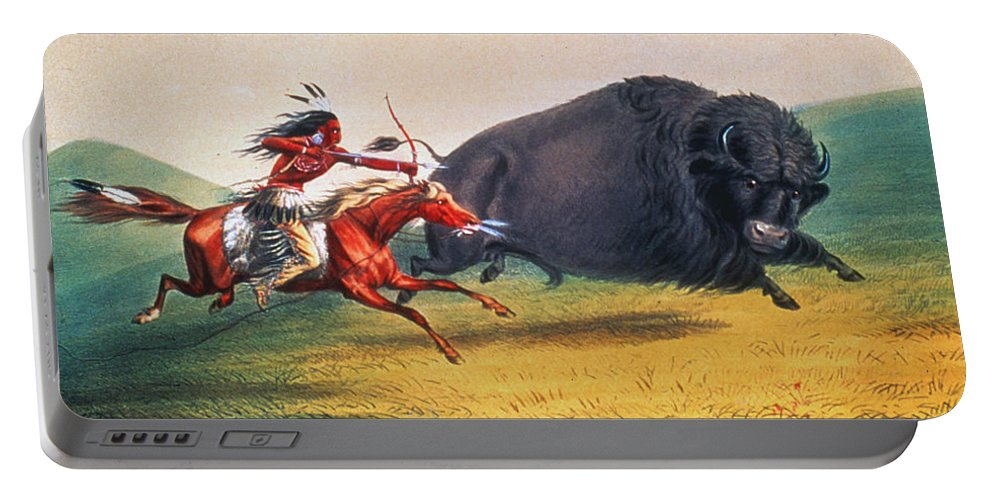 1832 Portable Battery Charger featuring the photograph Buffalo Hunt, C1832 by Granger