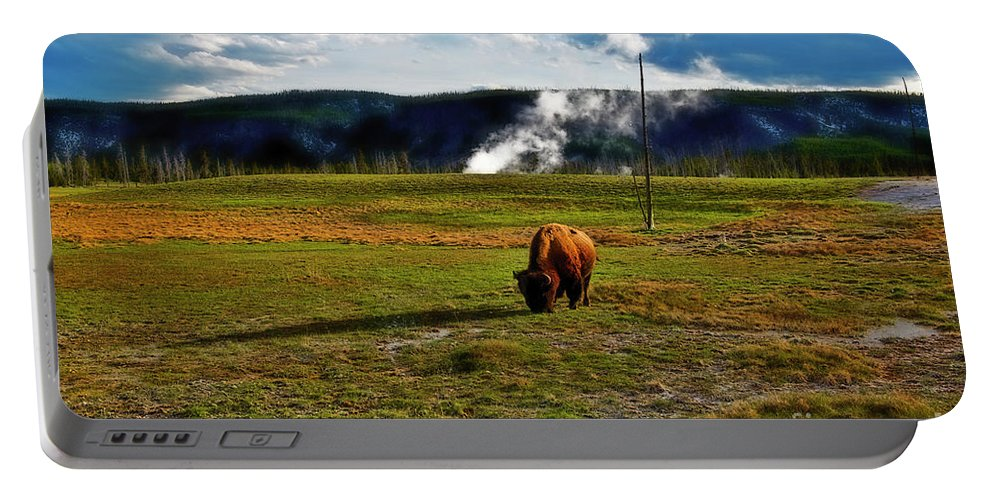 Yellowstone Portable Battery Charger featuring the photograph Buffalo In Yellowstone by David Arment