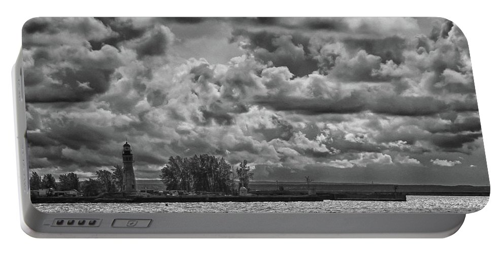 Clouds Portable Battery Charger featuring the photograph Buffalo Lighthouse 8111 by Guy Whiteley