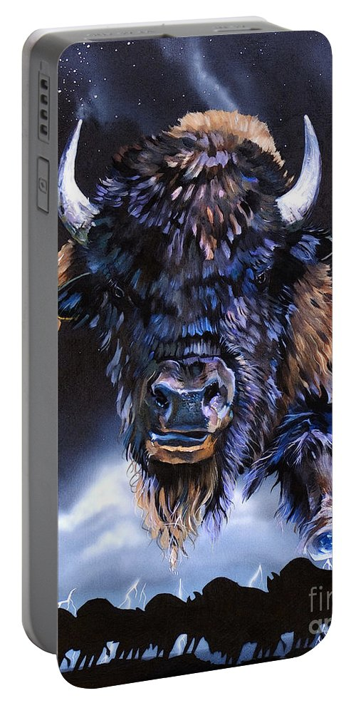 Buffalo Portable Battery Charger featuring the painting Buffalo Medicine by J W Baker