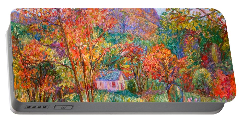 Landscape Portable Battery Charger featuring the painting Buffalo Mountain In Fall by Kendall Kessler