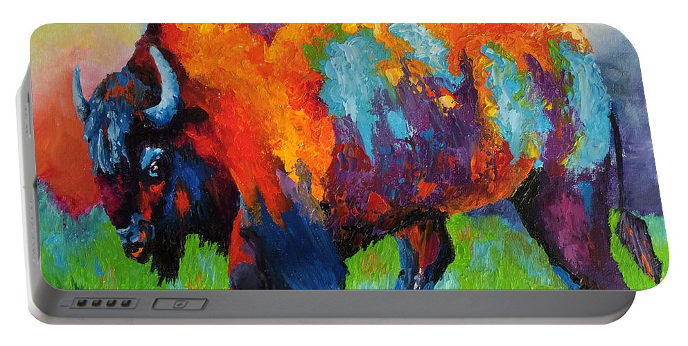 Buffalo Portable Battery Charger featuring the painting Buffalo On Weed by Kathy Przepadlo