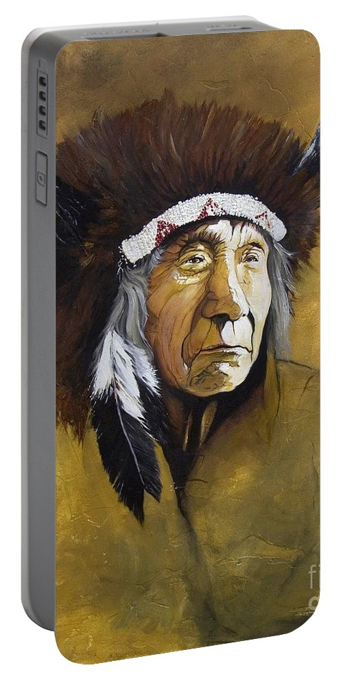 Shaman Portable Battery Charger featuring the painting Buffalo Shaman by J W Baker