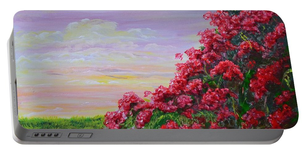 Flowers Portable Battery Charger featuring the painting Bugambilia De Tampa by Delia Canela - Senior
