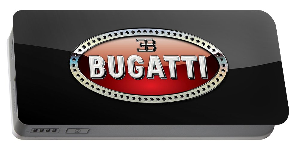 �wheels Of Fortune� Collection By Serge Averbukh Portable Battery Charger featuring the photograph Bugatti - 3 D Badge on Black by Serge Averbukh