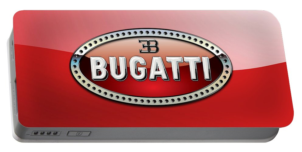 �wheels Of Fortune� Collection By Serge Averbukh Portable Battery Charger featuring the photograph Bugatti - 3 D Badge on Red by Serge Averbukh