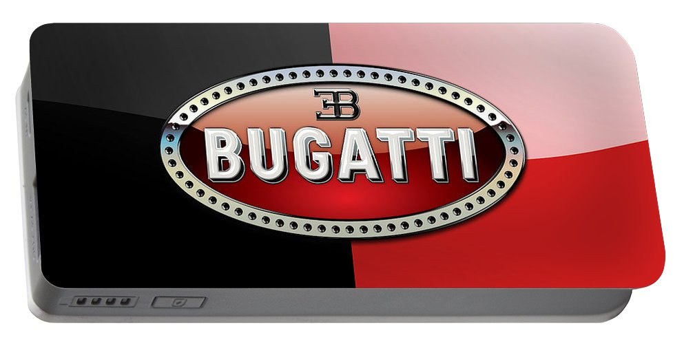Wheels Of Fortune By Serge Averbukh Portable Battery Charger featuring the photograph Bugatti 3 D Badge on Red and Black by Serge Averbukh