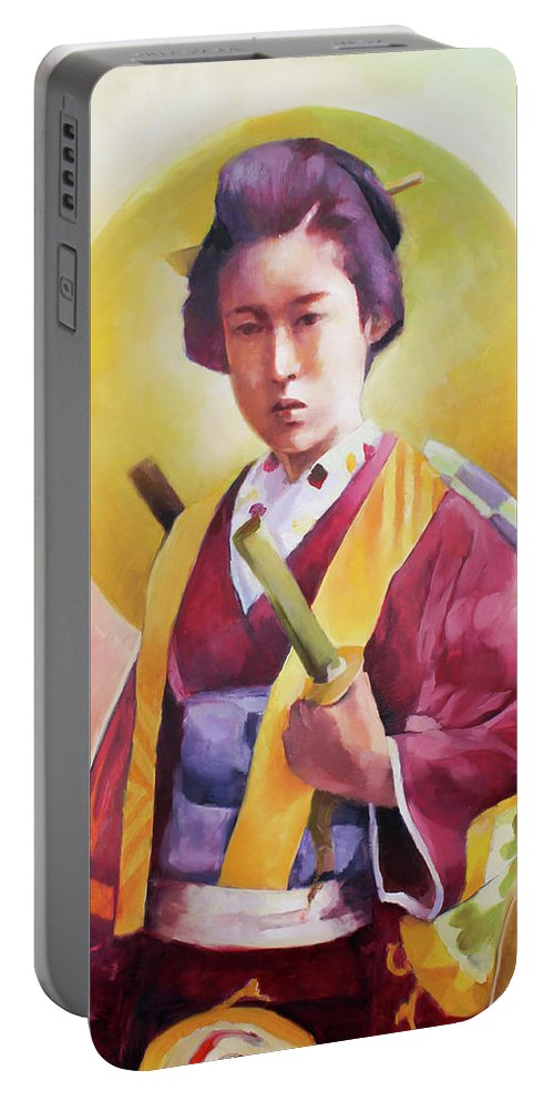 Samurai Portable Battery Charger featuring the painting Bugeisha One by Janay Everett