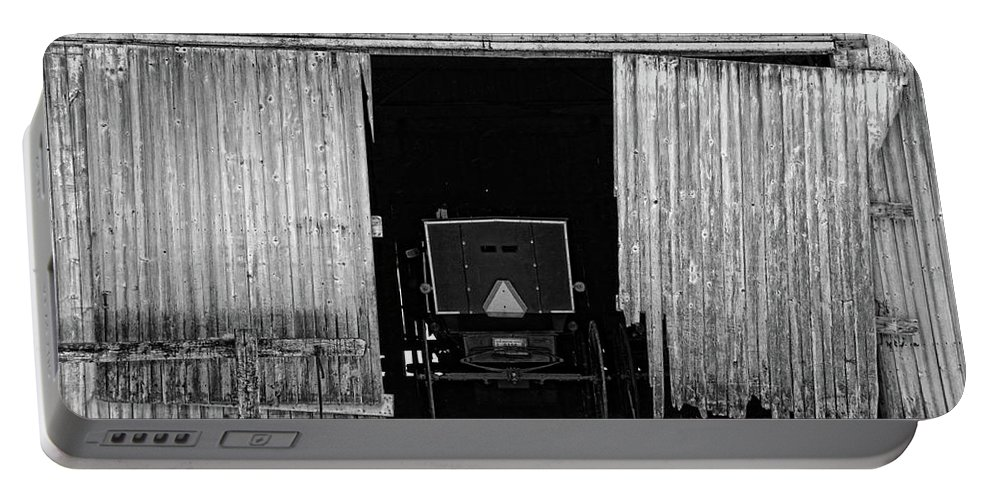 Barn Portable Battery Charger featuring the photograph Buggy In The Barn by David Arment