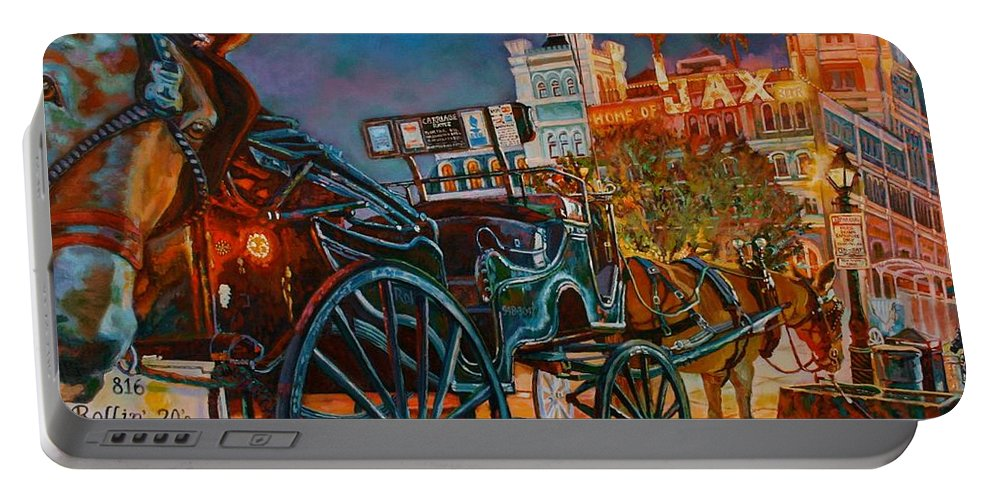 Art Portable Battery Charger featuring the painting Buggy, My Ass by Lisa Tygier Diamond