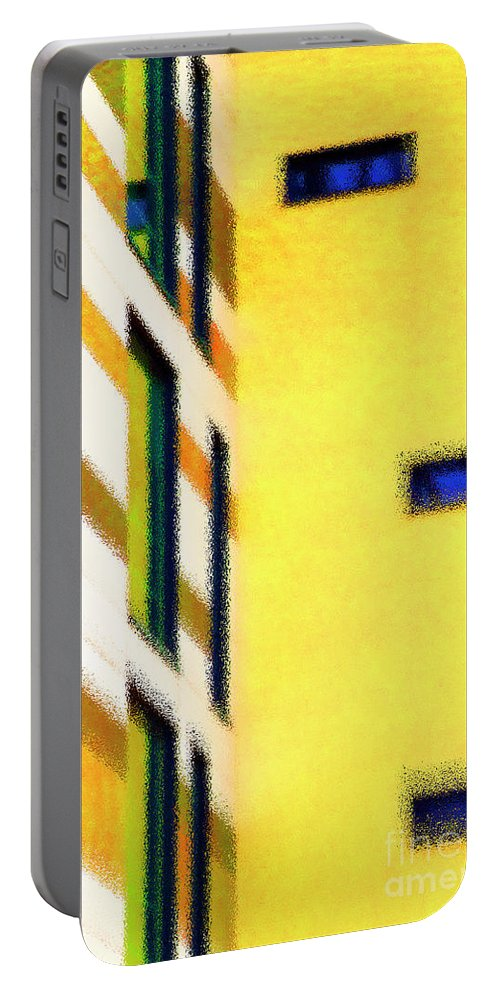 Yellow Portable Battery Charger featuring the digital art Building Block - Yellow by Wendy Wilton