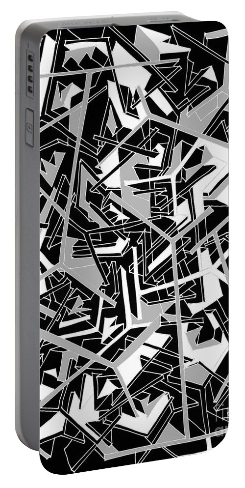 Abstract Geometrical Painting Portable Battery Charger featuring the painting Building Blocks 2 by Nancy Kane Chapman