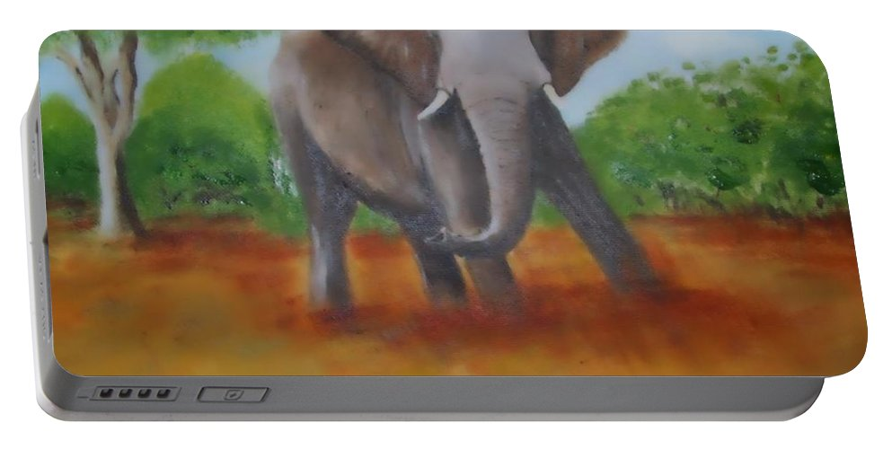 African Portable Battery Charger featuring the painting Bull Elephant by Tony Gunning