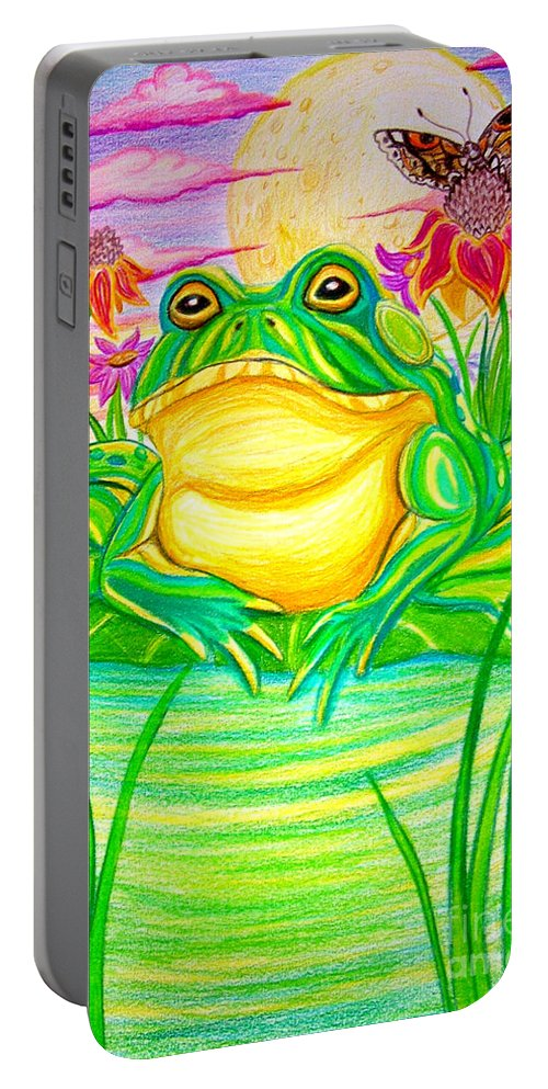 Bull Frog Portable Battery Charger featuring the drawing Bull Frog And The Moon by Nick Gustafson