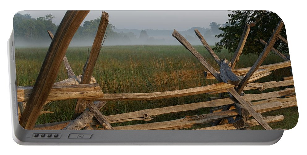 Fence Portable Battery Charger featuring the photograph Bull Run Virginia by Heidi Poulin