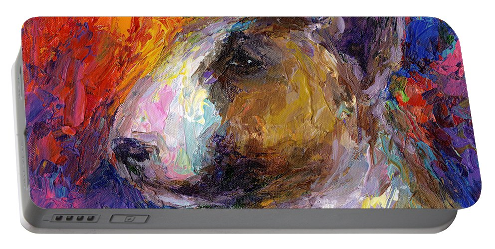 English Bull Terrier Prints Portable Battery Charger featuring the painting Bull Terrier Dog Painting by Svetlana Novikova
