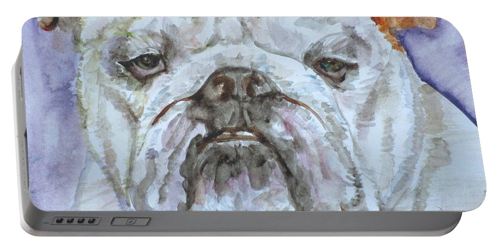 Bulldog Portable Battery Charger featuring the painting Bulldog - Watercolor Portrait.5 by Fabrizio Cassetta