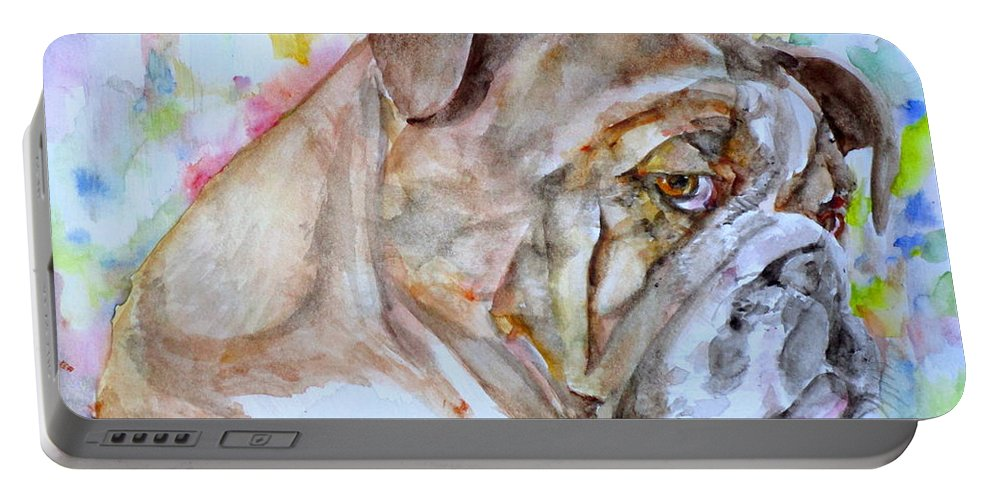 Bulldog Portable Battery Charger featuring the painting Bulldog - Watercolor Portrait.7 by Fabrizio Cassetta