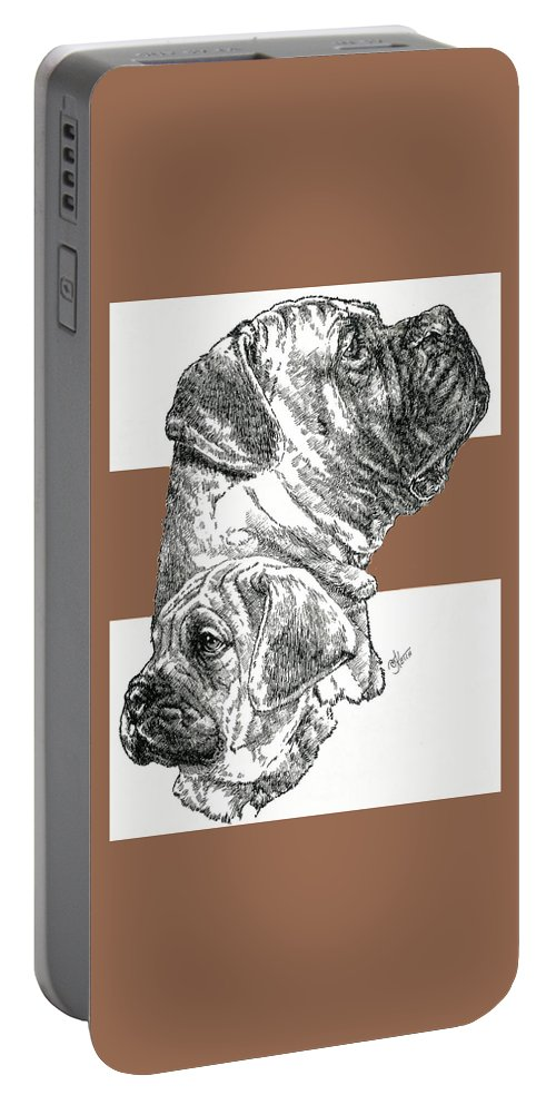Working Group Portable Battery Charger featuring the mixed media Bullmastiff And Pup by Barbara Keith