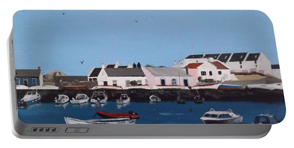 Dalkey Portable Battery Charger featuring the painting Bulloch Harbour, Dalkey by Tony Gunning