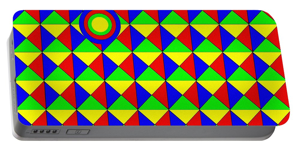 Abstract Portable Battery Charger featuring the digital art Bullseye by Will Borden