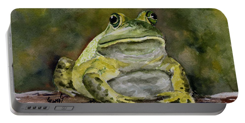 Frog Portable Battery Charger featuring the painting Bully by Sam Sidders