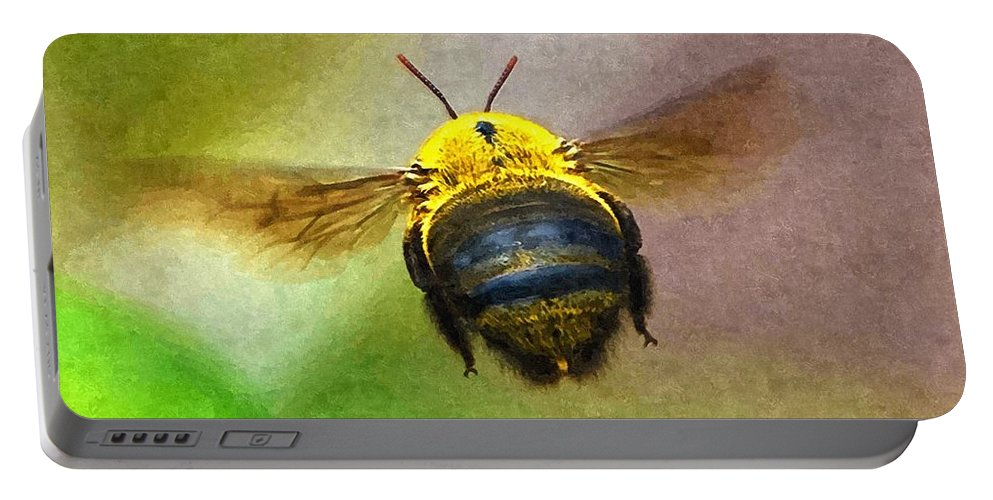 Animal Portable Battery Charger featuring the digital art Bumblebees Flight by Max Steinwald