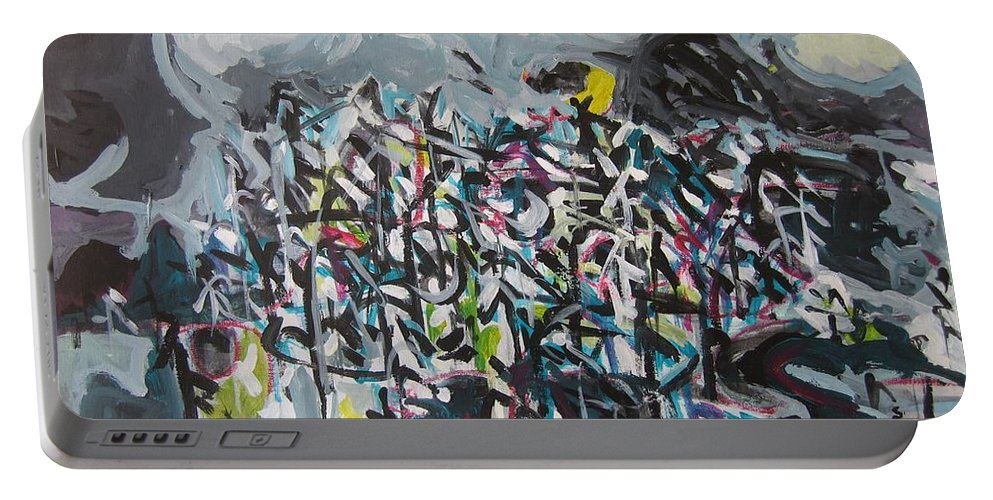 Abstract Paintings Portable Battery Charger featuring the painting Bummer Flat11 by Seon-Jeong Kim