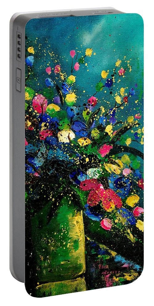 Flowers Portable Battery Charger featuring the painting Bunch 0807 by Pol Ledent