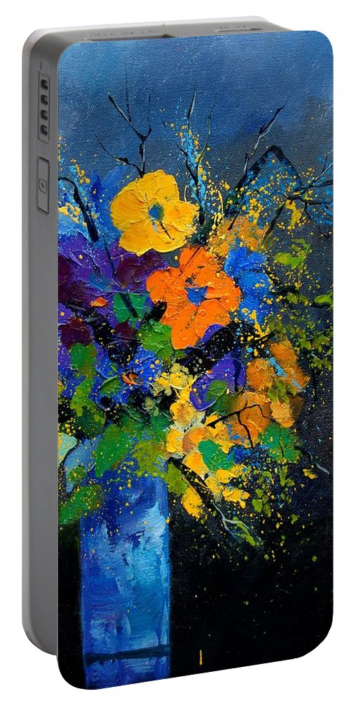 Poppies Portable Battery Charger featuring the painting Bunch 1007 by Pol Ledent