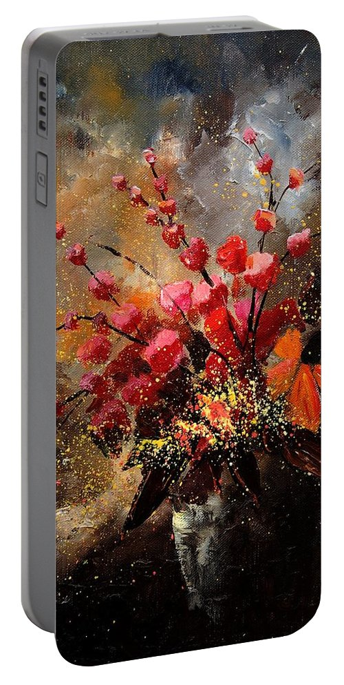 Poppies Portable Battery Charger featuring the painting Bunch 1207 by Pol Ledent