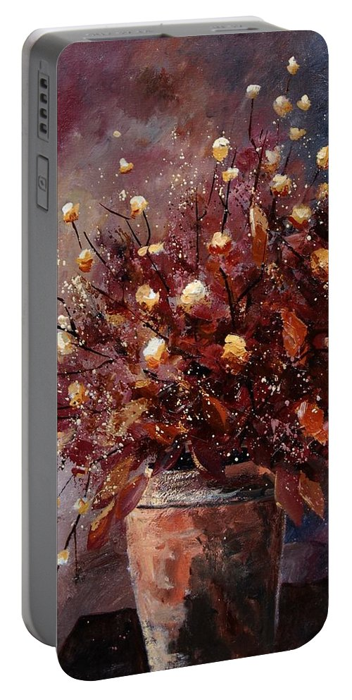 Poppies Portable Battery Charger featuring the painting Bunch 56 by Pol Ledent